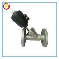 供应双作用灌装设备发泡机械用角座阀 直销法兰式塑料头气动角阀