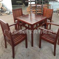 户外实木家具 户外实木桌椅 广场商业街休闲桌椅