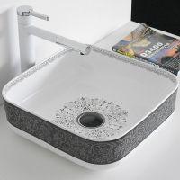陶瓷彩色艺术盆酒店家用中式方形洗漱彩金台上洗手盆