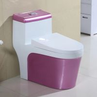 卫浴连体陶瓷粉色清新大尺寸虹吸式地排马桶座便器