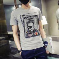 夏装潮男士短袖T恤圆领老头印花青年韩版修身体恤夏季半袖打底衫