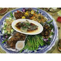 超大特大陶瓷装菜分格青花瓷大盘子