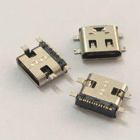 高寿命USB Type-C接口母座 【SMT全贴板】高频Type-C母座短体全贴片16P有弹片