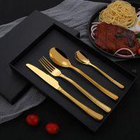 岐荣餐厨具高档410不锈钢西餐欧式餐具四件套装家用叉勺套装刀叉套装