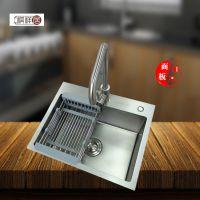 顺德祺祥居加厚5545高级纳米干镀不沾油不锈钢手工盆水槽厨房小单槽洗菜池