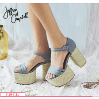 2018春夏新款时尚女鞋Jeffrey Campbell一字带高跟防水台凉鞋