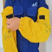 友盟AP-9119金黄色魔术贴长手袖 耐磨抗火牛二层芯皮面料