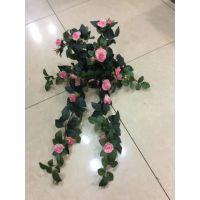 仿真壁挂 玫瑰花壁挂 假花壁挂 假花藤条壁挂
