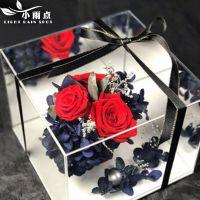 皮质亚克力花盒镜面盒子水晶花盒永生花包装盒插花盒礼盒透明批发