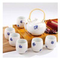 办公室茶具侧把壶红色瓷器整套茶具套装家用简约青瓷功夫茶具