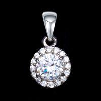 【Miss G】S925银圆形镶石吊坠女 热门时尚流行款 珠宝首饰厂家代加工