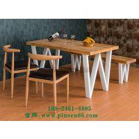 北欧实木家具 铁艺加固长方形创意餐桌咖啡厅西餐厅桌椅组合