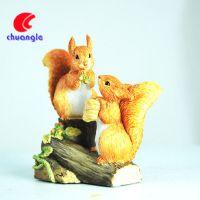 厂家定制树脂动物 高仿真两只松鼠摆件 创意家居工艺品