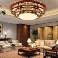 中式实木圆形吸顶灯客厅餐厅卧室灯酒店大堂别墅现代羊皮灯具