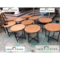 厂家供应无锡WX-03咖啡厅实木桌椅 简约咖啡圆桌订做 上海韩尔品牌