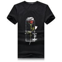 忆惜格罗 爆款男装 夏季短袖T恤 韩版修身玫瑰花拼网t恤 青年男士打底衫一件代发