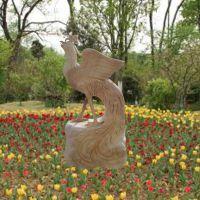 石雕凤凰晚霞红园林景观装饰摆件曲阳万洋雕刻厂家定做