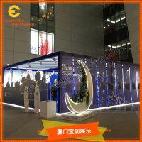 定制 商场美陈 木质月牙 月牙花盆 装饰橱窗展示道具