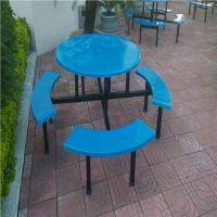 湖北8人员工食堂餐桌椅尺寸 恩施8人圆桌玻璃钢餐桌椅批发