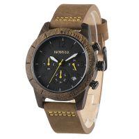 BEWELL品牌男士木质手表潮流时尚真皮表带六针石英表定制