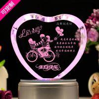 厂家批发定制图案创意3D水晶内雕桌面摆件情人节礼物送女生生日礼品
