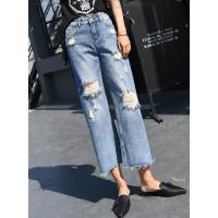 重庆便宜韩版女士牛仔裤批发秋季新款修身弹力紧身牛仔裤批发