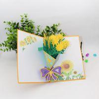 创意新款3D立体贺卡向日葵剪纸雕刻镂空定制新奇节日生日祝福礼品