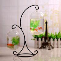创意透明玻璃鱼缸吊球 铁桌面鱼缸微景观花瓶 家居婚庆装饰品摆件