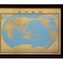 世界地图壁画,紫铜彩绘牌匾,红木框地球仪摆件,领导办公室装饰品