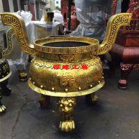 供应念佛堂铸铁圆形平口香炉 贵州铜仁寺院香炉厂家