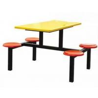 学生员工食堂餐桌椅4人圆凳快餐桌户外可口可乐休闲连体餐桌椅康腾厂家