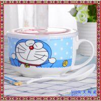 创意圆型有盖陶瓷保鲜碗可爱卡通保温饭盒密封碗