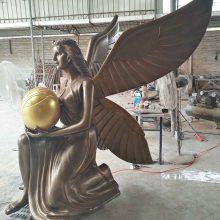 园林公园绿地景观雕塑人物 艺宇厂家仿铜雕玻璃钢欧式自由女神带翅膀天使