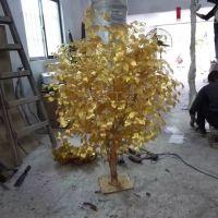 浩晟工艺 土豪金榕叶仿真榕树叶 假人造仿生大树枝叶塑料金色植物装饰批发