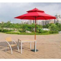 双顶防水防铝合金手摇伞 花园复古户外遮阳伞家具伞仿木中柱伞