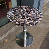 海德利简约现代阳台圆形大理石面餐桌下午茶桌子个性大理石台面