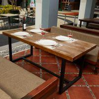 海德利 美式复古铁艺餐桌做旧实木饭桌连锁酒店餐厅餐桌椅组合批发定制