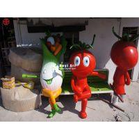 绿色水果蔬菜卡通雕塑|生态蔬菜玻璃钢雕塑厂家