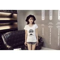 爆款夏季女士t恤 韩版原单女式印花T恤 地摊货源圆领女装短袖批发