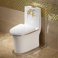 家用彩色陶瓷虹吸式卫浴彩金陶瓷连体马桶座便器