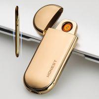 百诚USB充电打火机超薄点烟器 高档金属防风打火机广告定制批发