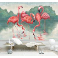 3D北欧简约粉色火烈鸟壁画 东南亚热带植物墙布 客厅卧室电视背景墙壁纸