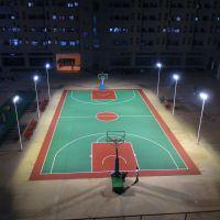 肇庆小区篮球场照明灯杆方案 校园一拖二配400W-LED灯具 柏克灯柱价格