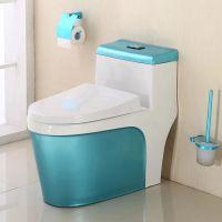 一体陶瓷蓝色小清新低水箱彩色马桶