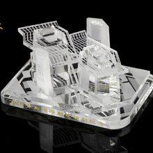 水晶内雕建筑模型摆件 水晶楼模定做工厂 立体内雕纪念品加工