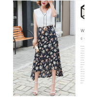 2018夏季新款韩版女式高腰雪纺碎花宽松半身裙女 女装连衣裙