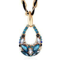 Gold Plated Wheat Wholesale Crystal Long Chain With Word Sweater Necklace National Style Fashoin Jewelry
