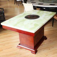 海德利 简约现代 圆餐桌椅组合实木圆桌酒店饭店桌椅批发中式雕花餐厅圆形橡木饭桌
