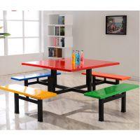 厂家直销玻璃钢连体8人方桌工厂食堂学生饭堂餐厅快餐店桌椅组合
