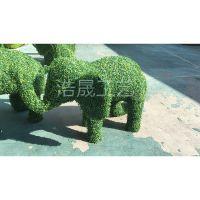厂家供应仿真动物造型 绿色植物大象绿雕 公园广场米兰草动物造型